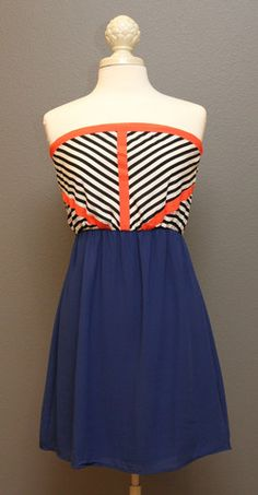 Strapless Combo Dress – The Dressing Vroom Cobalt blue, black and white stripe with orange trim = cute!