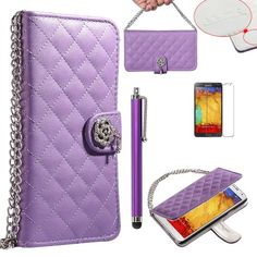 Note 3 Case, Galaxy Note 3 Wallet Case - ULAK Galaxy Note 3 Luxury Fashion Handbag Metal Chain Style PU Leather Wallet Case Folio Cover Credit Card Slot Holder for Samsung Galaxy Note III Note 3 N9000 W/ Screen Protector/Touch Stylus (Purple w/Luxury Bling Button) ULAK http://www.amazon.com/dp/B00HN2DS1G/ref=cm_sw_r_pi_dp_hDGkub12EYZPF