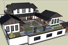 20 Kinds of Chinese Landscape Sketchup Models(Best Recommanded!) 20 Kinds of Chinese Landscape Sketchup Models(Best Recommanded! Courtyard House Plans, House Floor Plans, Traditional Chinese House, Chinese Courtyard, Japanese Style House, Asian House, Landscaping Around House, Casas The Sims 4, Casas Containers