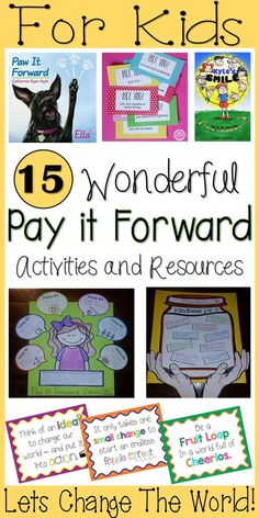 15 Pay it Forward Resources for Kids – Books, Activities, Videos – Lets Change the World. The smallest thing can make the biggest impact. Service Projects For Kids, Community Service Projects, Kindness Activities, Leadership Activities, Leadership Development, Kids Activity Books, Book Activities, World Kindness Day, Leader In Me