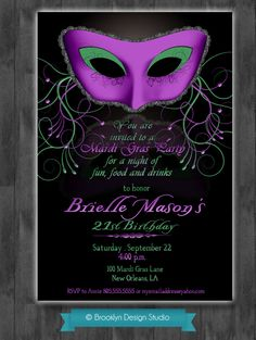 Masquerade+Party+Custom+Designed+by+BrooklynDesignStudio+on+Etsy,+$15.00