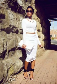 All white look with crop top and pencil skirt