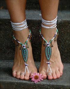 Indie BAREFOOT Sandals STARFISH Brass Toe Anklets by GPyoga, $79.00
