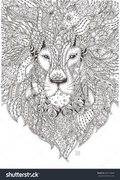 Hand-Drawn Lion With Ethnic Floral Pattern. Coloring Page - Zendala, Design For Meditation, Relaxation For Adults Coloring, Vector Illustration, Isolated On A White Background. Zendoodles. - 489153868 : Shutterstock