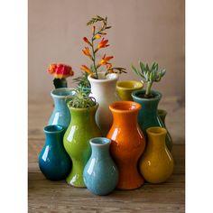 Multi Colored Ceramic Vases, Set Of 13 Kalalou Vases Vases Home Decor