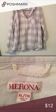 White/gray 3/4 button up flannel It's XL but fits M or a small L! Bought two years ago and never worn :) just been folded in my closet! Tops Tunics