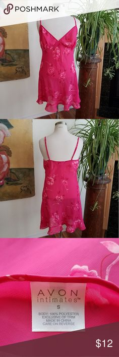 NWOT Pretty Pink Nightgown New without tags pink floral nightgown. Light & flowy material, adjustable straps & bottom ruffle accent makes for a flattering fit. Item is from my personal collection & has been selected from storage for listing. Tags were removed years ago, it has been tried on but never worn & it's in perfect new condition. Nightgown is 100% polyester. Machine washable on gentle cycle. Avon Intimates & Sleepwear Chemises & Slips