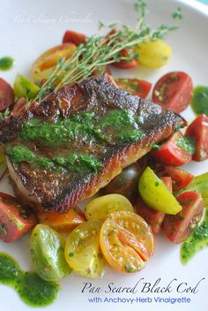 Pan Seared Black Cod with Anchovy-Herb Vinaigrette Posted in Seafoodby The Culinary Chronicles