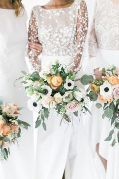 Anemone and peach rose wedding bouquets: Wedding Bouquet Ideas Wedding Bouquet Inspiration Wedding Bouquet Styles Wedding Bouquet Types Wedding Bouquet Examples Wedding Bouquets Flower Bouquets Wedding Flowers Church Wedding Flowers, Wedding Flower Guide, Spring Wedding Bouquets, Rose Wedding Bouquet, Bridal Flowers, Floral Wedding, Purple Wedding, Summer Wedding, Wedding Vows