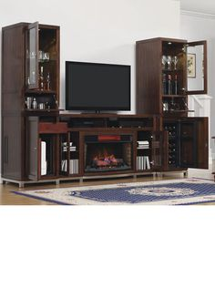 entertainment center with fireplace and mini fridge … | Pinteres…