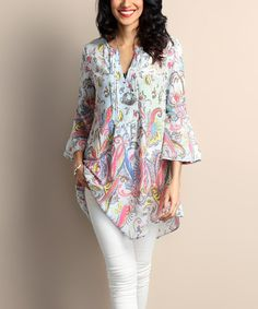 Look at this Light Blue Paisley Chiffon Notch Neck Bell-Sleeve Tunic on #zulily today!