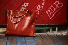 Leather bag  Handmade bag  Leather Tote Bag by Creazionidiangelina, $115.00