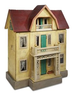 Home At Last - Antique Doll and Dollhouses: 252 Large German Wooden Dollhouse by Moritz Gottschalk