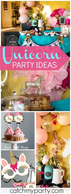 Here's a magical, unicorn party that is gorgeous and elegant! See more party ideas at Catchmyparty.com!