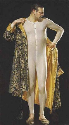 J C Leyendecker (German/American . Even with all his style, Leyendecker can't quite make a man appear dignified in combination underwear - fantastic robe, though. Norman Rockwell, Dandy, Vintage Men, Vintage Fashion, Vintage Clothing, Vintage Gentleman, Jc Leyendecker, Long Underwear, Vintage Underwear