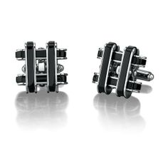 Stainless Steel Cufflinks for Men with Black Resin Inlay Peora. $19.99