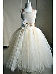 Flower Girl Dress Floor-length Silk A-line Sleeve... – USD $ 39.99