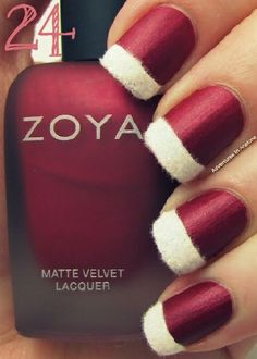 Matte Red and White Textured Santa Nails |