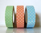Baby Shower Decorations Washi Tape, Green, Peach Pink, Blue Polka Dots Set of 3 from PrettyTape