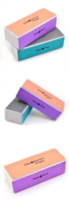 [Visit to Buy] Professional Colorful 4 Way Nail File Buffer Polishing Block Sanding Nail Art Manicure Sponge Setback Nail Art Tools #Advertisement
