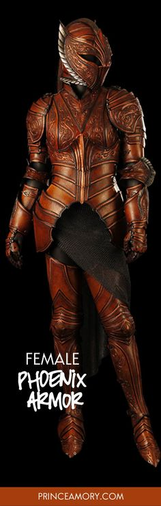 Phoenix Themed Female Armor Custom Phoenix Leather Armor This female armor was based on a phoenix but instead of vibrant colors a more subdued effect was desired. Armadura Medieval, Arm Armor, Body Armor, Medieval Armor, Medieval Fantasy, Larp, Armadura Cosplay, Costume Armour, Female Armor