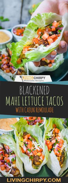 Blackened Mahi Fish Lettuce Taco with Cajun Remoulade
