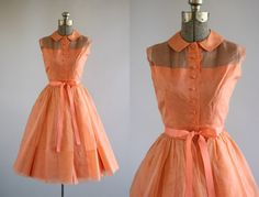 Vintage 1950s Dress / 50s Party Dress/ Apricot Party Dress w/ Peter Pan Collar and Sheer Neckline XXS