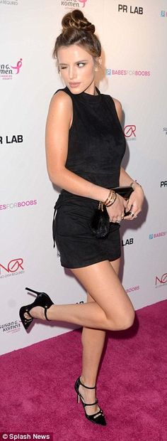 Bella Thorne kicks up her heels in little black dress at Babes For Boobs Auction | Daily Mail Online