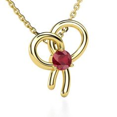 Round Blue Sapphire Yellow Gold Pendant - Bow Pendant: Remember a special moment or a promise with this feminine bow necklace, finished with a brilliant center gem. Bow Necklace, Red Gemstones, Gold Pendant, Precious Metals, Custom Jewelry, Gemstone Jewelry, Cool Things To Buy, Bling, Bows
