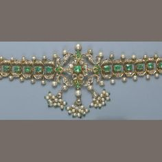An Indian emerald, diamond, cultured pearl and gold choker