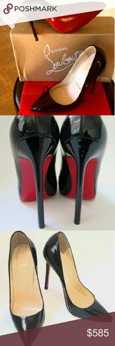 Christian Louboutin size 35 (us 5) So Kate Beautiful shoes, too small afterall for me.  Size 35 which is a true size 5 US Regular M, B Authentic Christian Louboutin black patent calfskin. 4.5inch heel, 13mm platform (approximately) Tapered toe; patent leather-covered platform and stiletto heel Slip on Smooth leather interior lining. Signature red leather sole. So Kate stiletto black 120 light beigh insole, patent leather pumps.  Made in Italy.  Comes with box, extra heel tabs, dust cloth and…