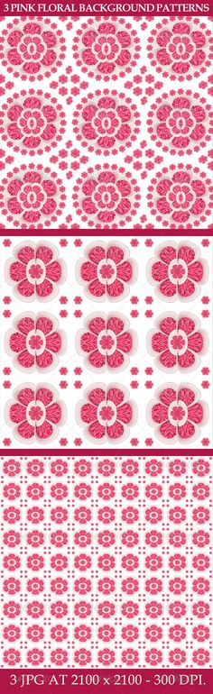 3 #Pink #Floral #Background #Patterns from #graphicriver