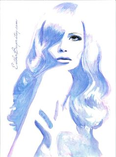 Indigo Blue Watercolor & Ink Painting Fine Art por EstherBayer