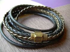 Triple Wrap Leather Bracelet with an Antique Brass Magnetic Clasp,Leather Bracelet,Mens Bracelet,Womens Bracelet,Mens Jewelry,Womens Jewelry
