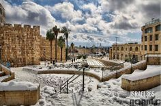 picture of the Old City of Jerusalem in a beautiful blanket of winter snow!