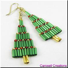 Christmas Bugle Tree Dangle Beaded Earrings TAGS - Jewelry, Earrings, Beaded, carosell creations, glass, seed beads, christmas tree, pierced, accessories, dangle, chandelier, green, bugles, holiday gift idea, stocking stuffer, yule, tide, jolly, winter, fashion, seasonal, yule, jewelry, occasion, earrings, etsy, handmade, women