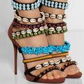 Hot Sale Multicolor Coline Embellished Sandals High Heel Brown Stilettos Ankle Strappy Gladiator Heels Pumps Summer Shoes Woman