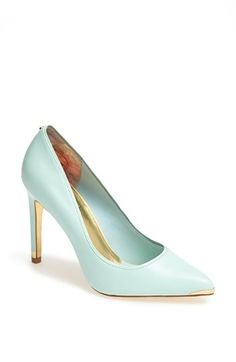 Look at the little gold tips! Ted Baker London 'Thaya' Leather Pointy Toe Pump | Nordstrom