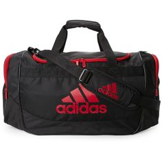 Adidas Black & Red Defense Medium Duffel ($20) ❤ liked on Polyvore featuring bags, luggage and black