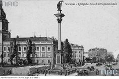 Warszawa. Plac Zamkowy. Rycina przedstawiająca kolumnę Zygmunta i Zamek Królewski.