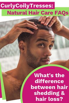 The difference between hair shedding and hair loss: It's normal to shed between 50 and 100 hairs every day. When you shed significantly more hairs every day, you're experiencing excessive hair shedding. The medical term for this condition is telogen effluvium. Excessive hair shedding is common in people who have experienced one of the following stressors:Read more... #curls #naturalcurls #naturalhaircare #curlyhairtips #haircaretips #naturalhair #curlygirl Natural Hair Care Tips, Curly Hair Tips, Natural Curls, Curly Hair Styles, Natural Hair Styles, Hair Shedding, Hair Porosity, Black Hair Care, Natural Haircare