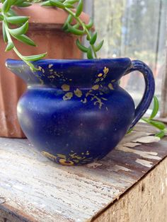 RARE Zanesville Pottery Matte Blue Creamer Pitcher * Cobalt Drip Glaze * Marked 578 * Antique Art Pottery * Handpainted Roses on Stoneware