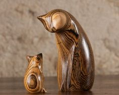 Stunning Cat & Mouse, hand carved from Mexican Rosewood (Bocote) by Perry Lancaster.