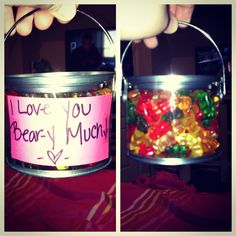 I love you bear-y much filled with haribo gummi bears! :) yummmm! Great valentines present!