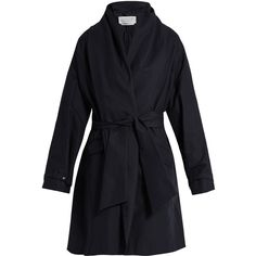Gabriela Hearst Audley draped cotton cocoon coat (11531705 PYG) ❤ liked on Polyvore featuring outerwear, coats, navy, flare coat, navy shawl, navy blue shawl, lapel coat and cotton shawl