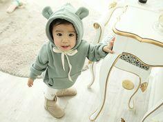 Bear ears Hooded Fleece Sweatshirt for Girl & Boy by AngAngBabyUS