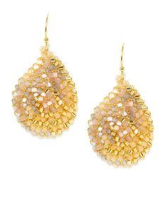 Beige Multi Beaded Teardrop Earrings by Lavish by Tricia Milaneze on Gilt.com