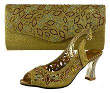 Alta qualità corrispondente scarpa italiana e set borsa, nizza  Cunei della signora alti talloni per abbinare le donne si vestono, 38-42 5582-5 pallido  Oro
