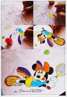 Minnie Mouse play tennis! - pictura manuala tricou fetite! Minnie Mouse, Kids Rugs, Unique, Artist, Painting, Decor, Atelier, Decoration, Kid Friendly Rugs