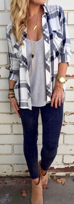 Only $26.99! This shirt is just what you want Black and White Plaid Pocket Long Sleeve Shirt. Search more shirts and sweaters at chicnico.com❤️